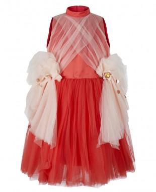 红色粉色网纱无袖连衣裙礼服裙