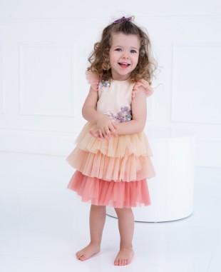 裸色粉色渐变蕾丝刺绣细节婴儿连衣裙公主裙