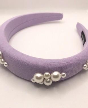 珍珠细节紫色发箍