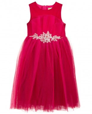 玫红色蕾丝裙无袖连衣裙