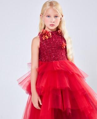 大红色钉珠花朵网纱无袖公主礼服长裙