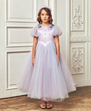 淡紫色泡泡袖钉珠细节多层网纱连衣长裙公主裙