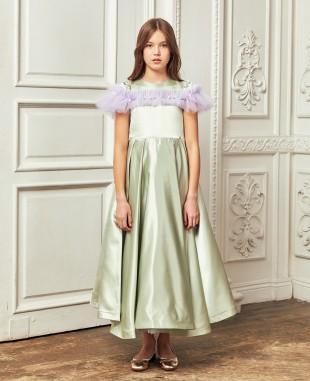 薄荷绿缎面紫色网纱细节大摆长裙公主裙