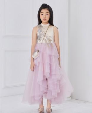 裸色缎面粉紫色网纱无袖连衣裙公主裙