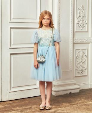 淡蓝色渐变缎面蕾丝钉珠细节网纱短裙公主裙