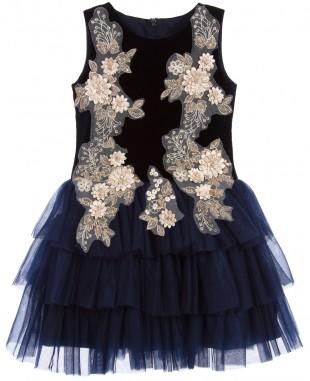 深蓝色雏菊无袖蕾丝裙网纱裙
