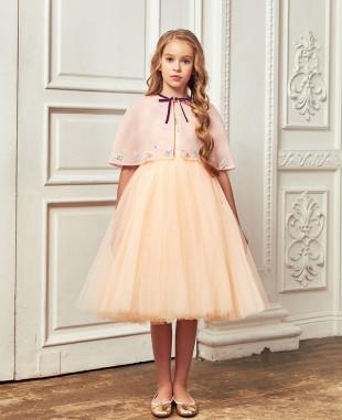 橘粉色网纱披肩中长公主裙连衣裙