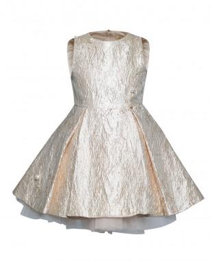 金色提花珍珠细节无袖裙公主裙