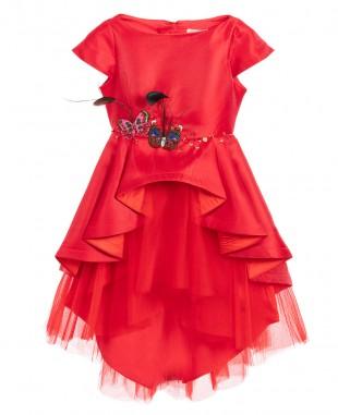 皇家红色缎面蝴蝶刺绣连衣裙薄纱裙婚礼裙