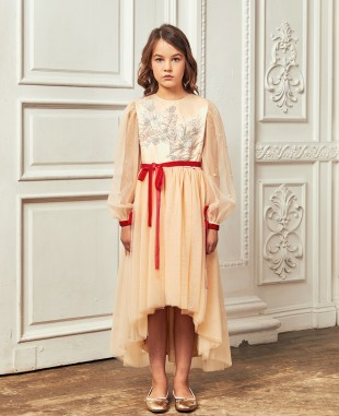 裸色网布红色丝绒织带细节蕾丝长裙公主裙