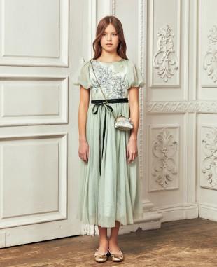 薄荷绿蕾丝网纱泡泡袖礼服长裙公主裙