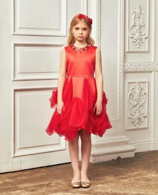 大红色缎面不规则网纱无袖连衣裙公主裙