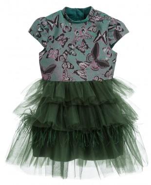 翡翠绿提花薄纱裙连衣裙