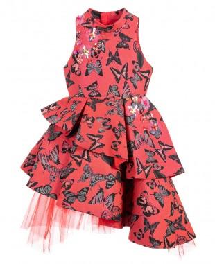 红色提花公主裙无袖蝴蝶花裙