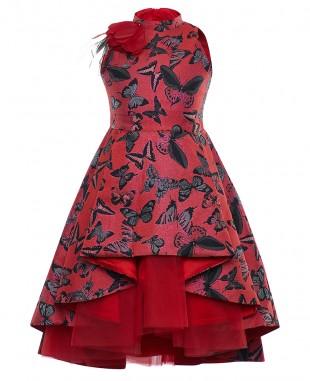 红色蝴蝶提花欧根纱花朵细节公主裙无袖裙