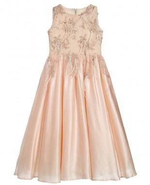 奶油杏色羽毛钉珠缎面裙无袖蕾丝连衣裙