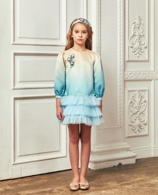 蓝色裸色渐变缎面钉珠细节长袖短裙礼服裙