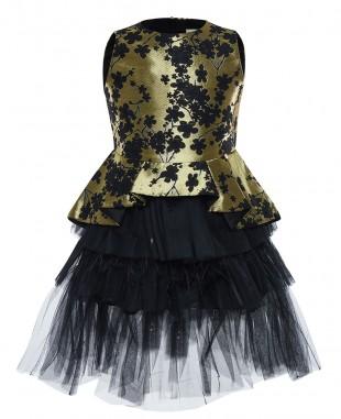 黑金缎面羽毛无袖短裙公主裙