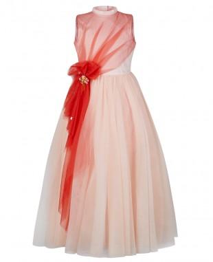 粉色网纱无袖连衣裙公主裙