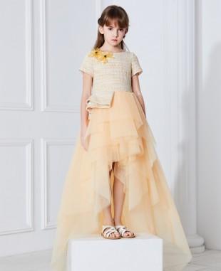 淡黄色编制面料公主长裙礼服裙
