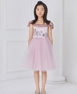 粉紫色一字领刺绣网纱连衣裙公主裙