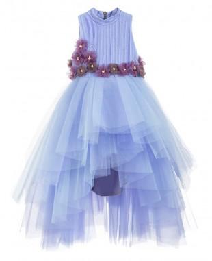 米兰达淡紫色薄纱连衣裙无袖舞会裙