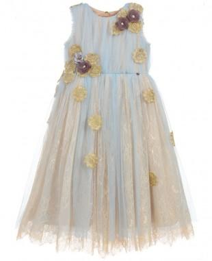 淡蓝色蕾丝无袖小花裙优雅婚礼礼服