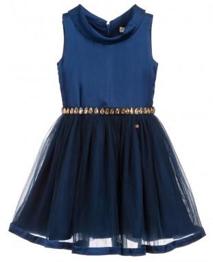 深蓝色一字领钉珠腰带短裙无袖连衣裙