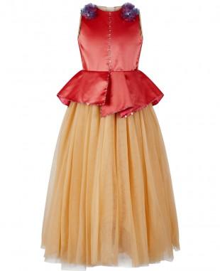 金色网纱粉色缎面钉珠无袖礼服裙公主裙