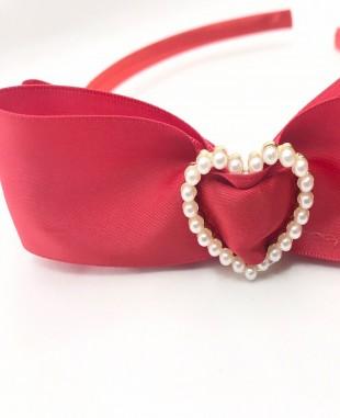红色蝴蝶结珍珠扣发箍