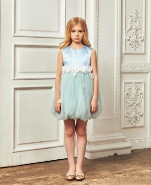 淡蓝色绿色网纱花苞裙礼服裙