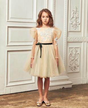 裸色网纱淡蓝色蕾丝钉珠细节长袖连衣裙公主裙