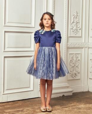 深蓝色压褶袖子蕾丝网纱公主裙礼服裙