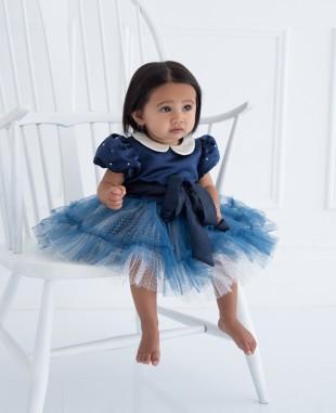 深蓝色缎面银闪网纱泡泡袖婴儿礼服裙公主裙