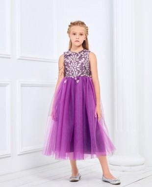 紫色羽毛蕾丝公主长裙礼服裙
