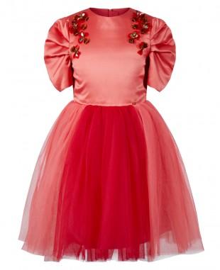 红色缎面网纱钉珠短袖连衣裙礼服裙