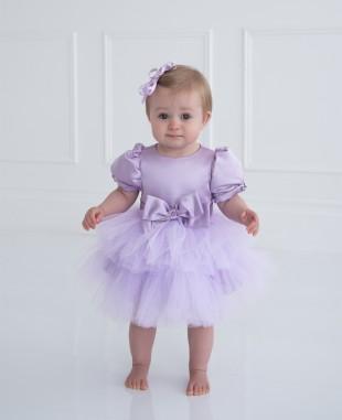 淡紫色蝴蝶结泡泡袖婴儿网纱礼服裙公主裙
