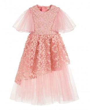 粉色蕾丝薄纱裙优雅婚礼礼服