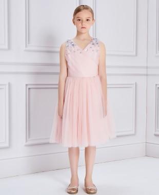 粉色网纱亮片钉珠礼服裙公主裙