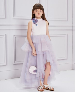 粉紫色网纱钉珠无袖连衣裙公主裙
