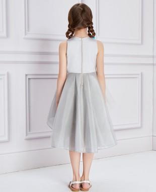 银色网纱蓝色花朵钉珠礼服裙公主裙