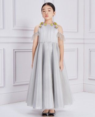 银色长款网纱紫色花朵钉珠礼服裙公主裙