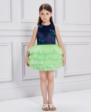 深蓝色绿色网纱芭蕾舞礼服裙公主裙