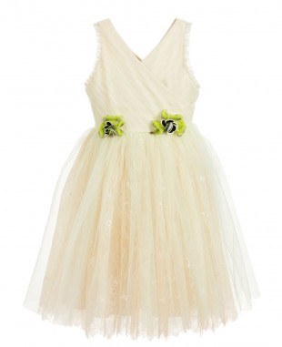 Green Tulle & Beige Lace Dress Sleeveless Princess Dress
