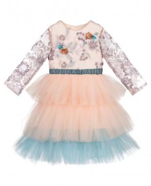 刺绣蕾丝裸色蓝色网纱渐变网纱连衣裙公主裙