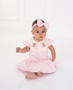 粉色缎面短袖礼服裙婴儿公主裙
