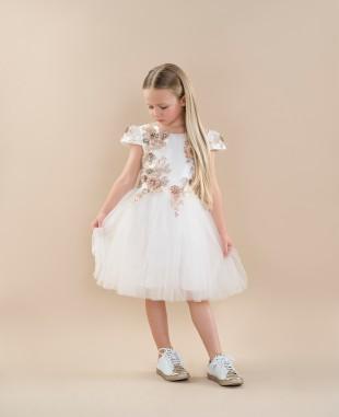 白色连衣裙网纱裙短袖蕾丝裙