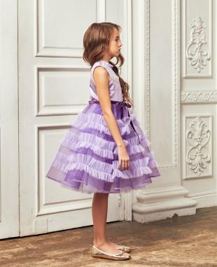 紫色网纱花边钉珠无袖礼服裙公主裙
