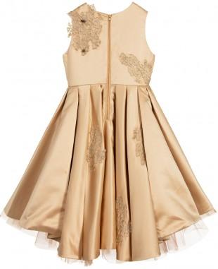 金色蕾丝无袖连衣裙
