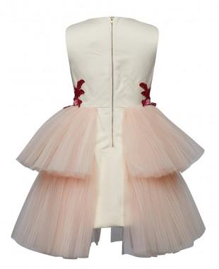 象牙白多层薄纱裙粉色亮片连衣裙